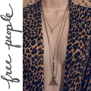 FREE PEOPLE triple layer geo triangle necklace